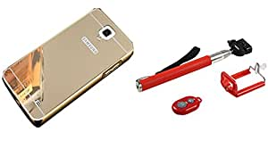 Novo Style Back Cover Case with Bumper Frame Case for Samsung Galaxy Note 3 Neo Golden + Selfie Stick with Adjustable Phone Holder and Bluetooth Wireless Remote Shutter