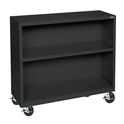 "Sandusky Lee BM10361830-09 Black Steel Mobile Bookcase, 1 Adjustable Shelf, 200 lb. Per Shelf Capacity, 36"" Height x 36"" Width x 18"" Depth"