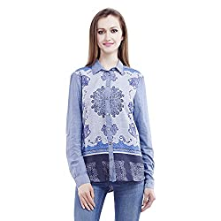 MansiCollections Women's Printed Casual Blue Shirt (Medium)