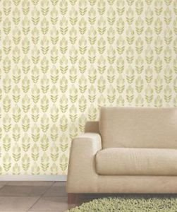 Fine Decor Blockprint Tulip Wallpaper - Green from New A-Brend