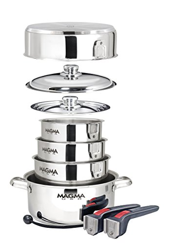 Magma A10-360L 10 Piece Gourmet Nesting Stainless Steel Cookware, Gas, Electric or Ceramic Cooktops (Ovensafe Cookware compare prices)