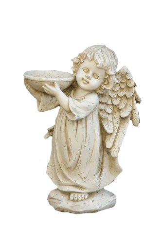 Your Heart's Delight Wood Effect Standing Angel with Bowl, 12-Inch