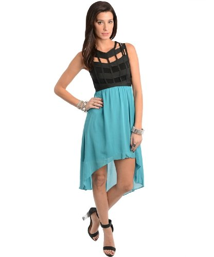 2Luv Women'S Caged Bodice Chiffon High Low Dress Teal S(K1246)