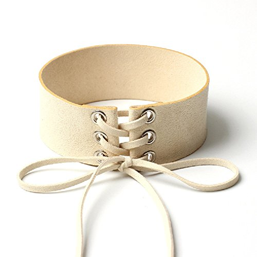 XJoel donne del collare largo nastro di velluto collana collare collana girocollo pizzo beige e rosa 2 pezzi