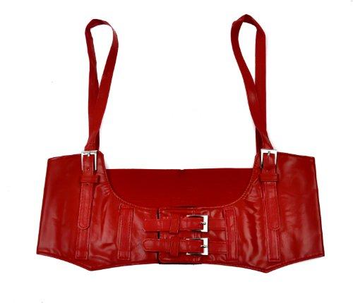 RED Vinyl Waist Cincher Belt with Straps