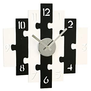 Contemporary wooden wall clock black and white puzzle - Black and white kitchen clock ...