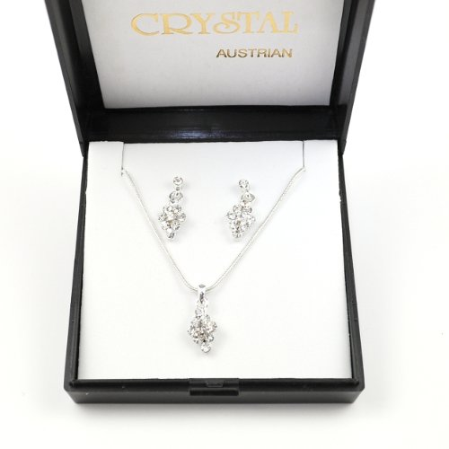 Austrian Crystal Diamond Design Necklace & Earring Set in Black Gift/Presentation Box.