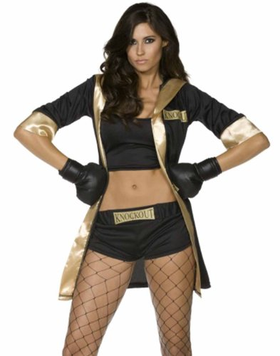 Boxing Knockout Babe Queen Of The Ring Womens Halloween Costume+Boxing Gloves