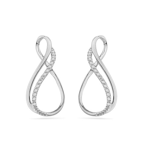 Platinum Plated Sterling Silver Round Diamond Fashion Earrings (1/10 Cttw)