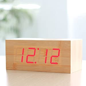 HITO™ Digital Clap-on Fashion Wood Grain Red LED Desktop Alarm Clock - Time Calendar Thermometer function - Sound Control - Latest GEN