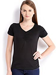 ESPRESSO V NECK TOP - BLACK