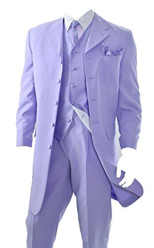 Mens Three Pieces Zoot Suit (Lavender) (48L) (Zoot Suit Costume Tie)
