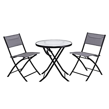 Giantex 3 Piece Table Chair Set Metal Tempered Glass Folding Outdoor Patio Garden Pool (Blue)