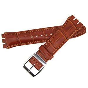 Correa de reloj de cuero para reloj Swatch Irony Chrono, Marrón, 19mm