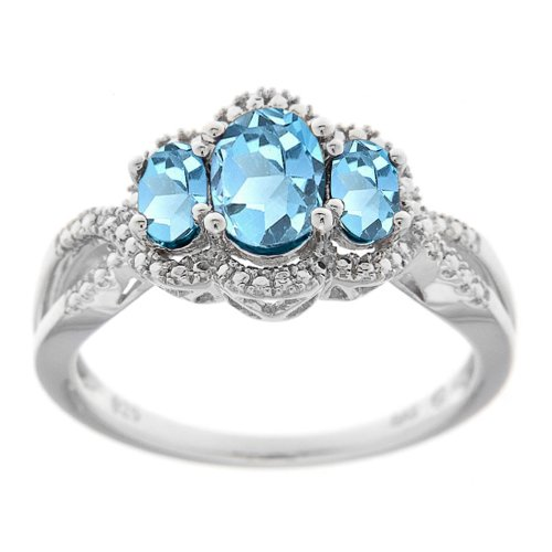 Sterling Silver Swiss Blue Topaz and Diamond-Accented 3-Stone Ring, Size 7