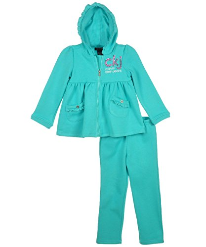 Calvin Klein Little Girls' Hoody With Pull On Pants, Green, 6 front-932326