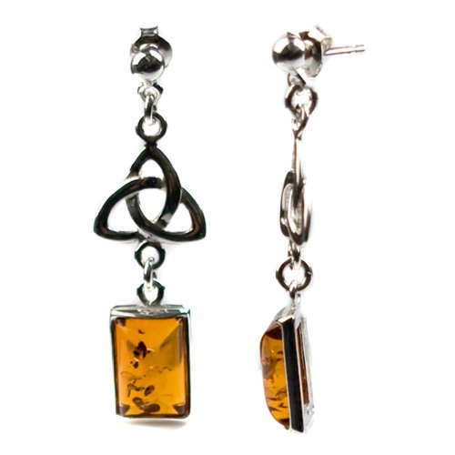 Sterling Silver Honey Amber Celtic Earrings