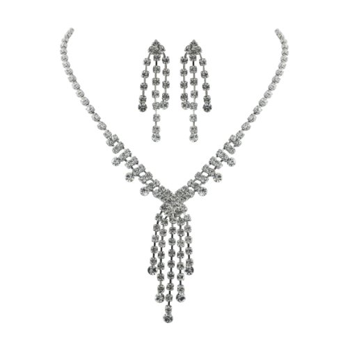 Brass Rhodium 14 inches + 3 Inches extensions Necklace Earrings Colorless Crystal Soft V shape Tassle