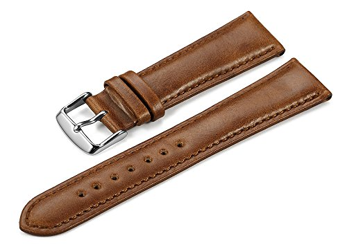 iStrap 22mm Genuine Leather Watch Strap Padded Calfskin Band Steel Spring Bar Buckle Super Soft - Brown (Leather Strap For Omega Watch compare prices)