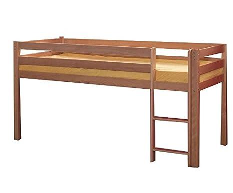 Dora designs pepe le lit mezzanine en bois de hêtre massif 90 x 200 cm-couleur :  bois de hêtre laqué naturel