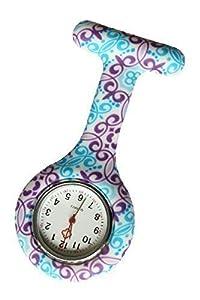 Reloj Médico Reloj Prendedor de Broche de Túnica de Paramédico Doctor Enfermera Silicón de Flores Geométricas Azul & Morado de Bullahshah