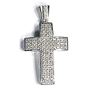 14k White Gold Prong Set Diamond Cross Pendant 3.30 Carats