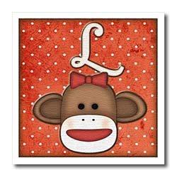 ht_102815 Dooni Designs Monogram Initial Designs - Cute Sock Monkey Girl Initial Letter L - Iron on Heat Transfers