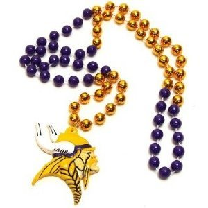 Minnesota Vikings Mardi Gras Party Beads Necklace