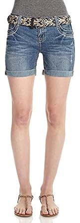 WallFlower Juniors Gem Mid Thigh Denim Shorts in Kristen Size: 0