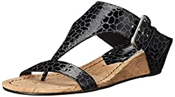 Donald J Pliner Women\'s Doli3-LR Wedge Sandal, Black, 6.5 M US