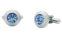 The Jewelbox Round Blue Rhodium Plated Brass Cufflink Pair for Men