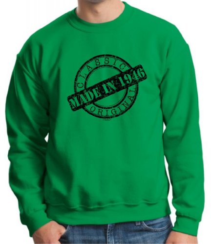 Made 1946 Classic Stamp Birthday Distressed Crewneck Sweatshirt 3Xl Green