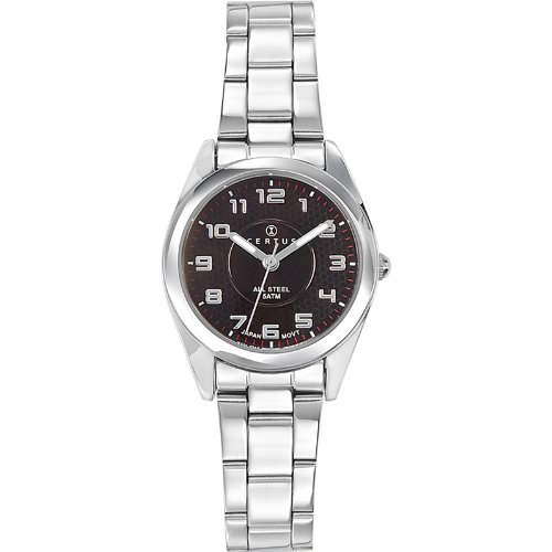 Certus 641389 - Ladies Watch - Analogue Quartz - Black Dial - Steel Bracelet Silver