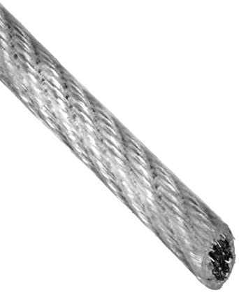 Loos Galvanized Steel Wire Rope, Vinyl Coated, 7x7 Strand Core, Natural