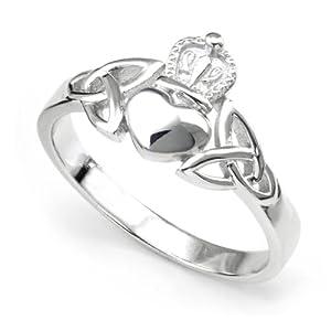 Nickel Free Sterling Silver Irish Claddagh Friendship and Love Band Celtic Ring w/ Trinity Symbols Sz 8