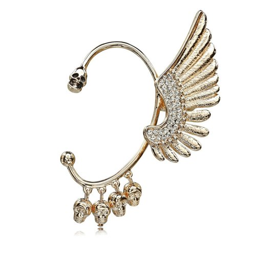 CIShop Angel Wings Ear Cuff with SkullHead Pendants Punk Gothic Earcuff(Left Ear)