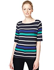 Autograph Square Neck Multi-Striped Top