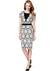 M&S Collection Drop a Dress Size Floral Bodycon Peplum Dress with Secret Support™