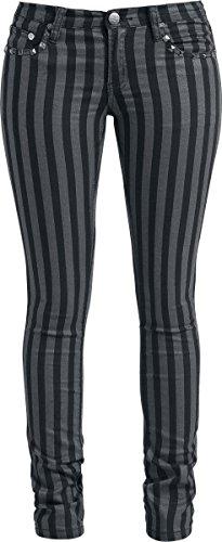 Rock Rebel by EMP Stripes (Slim Fit) Pantaloni donna nero/grigio W32L34