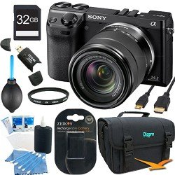 Sony NEX-7 NEX7KB NEX7K NEX7 24.3 MP Compact Interchangeable Lens Camera with 18-55mm lens BUNDLE with 32GB SD Card, Spare Battery, UV Filter, Card Reader, Mini HDMI Cable, Deluxe Case + More