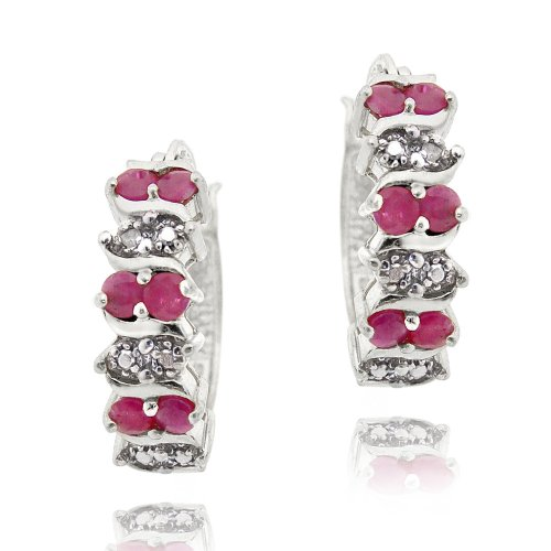 Sterling Silver Ruby & Diamond Accent Hoop Earrings