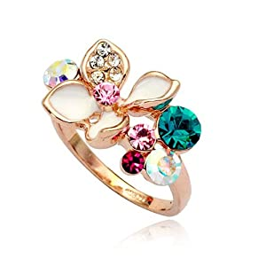 Magic Collection 18k Rose Gold Plated Multi Color Crystals & White Enamel Flower Cocktail Ring (Rose Gold & Turquoise Crystal, 8)