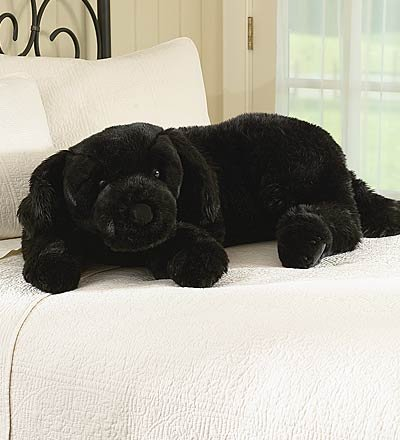 Super-Soft Black Lab Cuddle Body Pillow with Suede Padded Paws, in Black