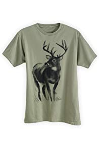 Green 3 Apparel Men's Watercolor Deer Organic USA-made T-shirt