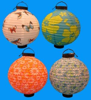4 Battery-operated, Assorted Designs Chinese/japanese Paper Lanterns 8