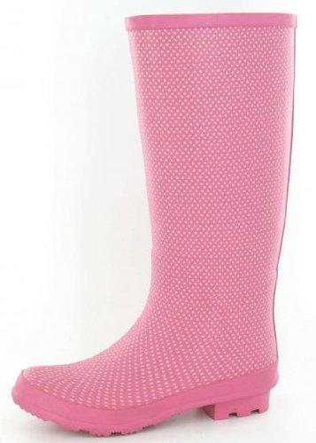 Womens Pink Fashion Winter Wellies Wellington Boots