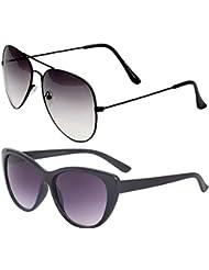 Unisex Uv Protected Combo Pack Of Aviator Sunglasses And Cateye Sunglasses ( Black Shd Black - Black Cateye )...