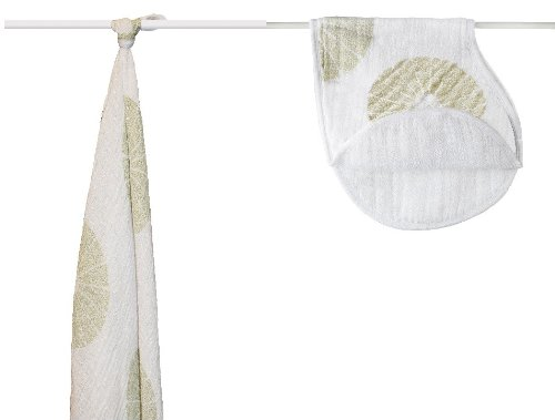 Organic Cotton Swaddle Blanket & Burpy Bib-Oasis - 1