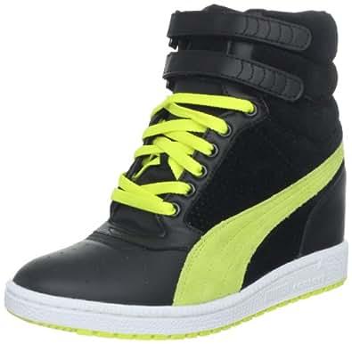 PUMA Women's Sky Wedge Fashion Sneaker,Black/Fluorescent Yellow,6.5 B US