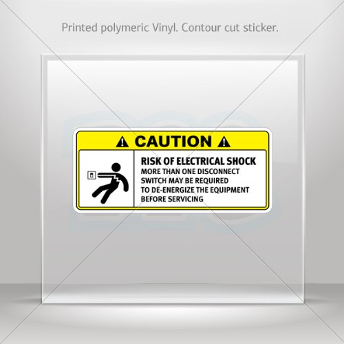 Sticker Decals Caution Risk Of Electrical Shock. More Than One Disconnect Switch May Be Required To De-Energize.. 0500 X8563